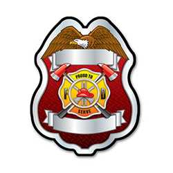 Imprinted Proud To Serve Silver Plastic Clip-On Badge firefighting, fire safety product, fire prevention, plastic fire badge, firefighting badge, custom badge, custom firefighter badge
